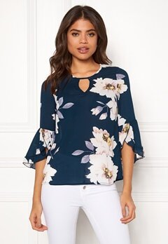 Happy Holly Madelyn Blouse Dark blue / Patterned Bubbleroom.fi