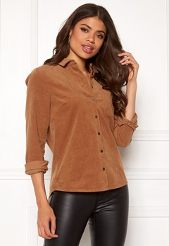 Happy Holly Maja Cord Shirt Light brown Bubbleroom.fi