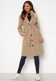 Happy Holly Mariah wool blend coat Beige Bubbleroom.fi