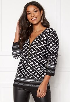 Happy Holly Marion top Black / Patterned Bubbleroom.fi