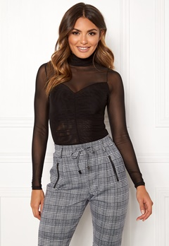Happy Holly Megan mesh top Black Bubbleroom.fi