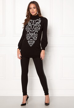Happy Holly Melanie long sweater Black / White Bubbleroom.fi