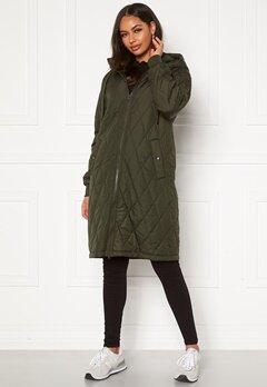 Happy Holly Melanie quilted hood jacket Khaki green Bubbleroom.fi