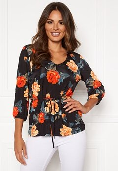 Happy Holly Melanie top Black / Patterned Bubbleroom.fi
