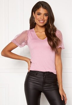 Happy Holly Melissa v-neck puff top Dusty pink Bubbleroom.fi