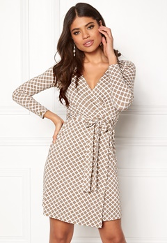 Happy Holly Millie wrap dress Sand / Offwhite Bubbleroom.fi