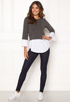 Happy Holly Nell 2in1 top Dark grey melange / White Bubbleroom.fi