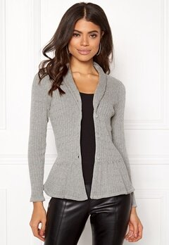 Happy Holly Patricia cable cardigan Grey melange Bubbleroom.fi