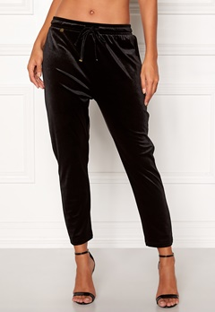 Happy Holly Pearl velour pants Black Bubbleroom.fi