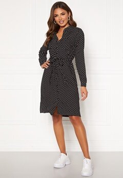 Happy Holly Ronja ls shirt dress Black / Dotted Bubbleroom.fi