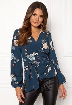 Happy Holly Samantha blouse Petrol-blue / Patterned Bubbleroom.fi