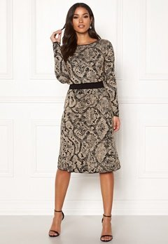 Happy Holly Sandra knitted lurex skirt Animal print Bubbleroom.fi