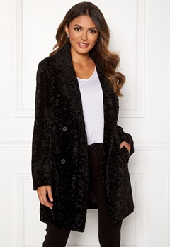 Happy Holly Sienna fur coat Black Bubbleroom.fi