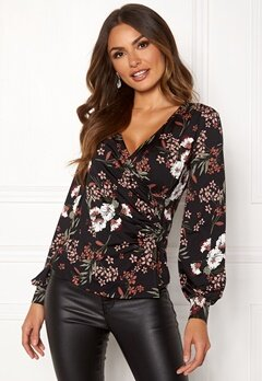 Happy Holly Simone wrap top Black / Patterned Bubbleroom.fi