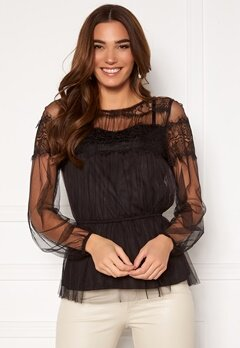 Happy Holly Smilla ls mesh blouse Black Bubbleroom.fi