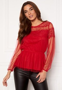 Happy Holly Smilla ls mesh blouse Red bubbleroom.fi