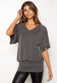 Happy Holly Sussie top Dark grey melange Bubbleroom.fi