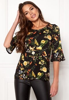 Happy Holly Tereza top Black / Patterned Bubbleroom.fi