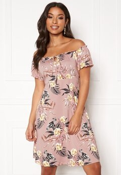 Happy Holly Tessan dress Dusty pink / Patterned Bubbleroom.fi