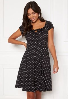 Happy Holly Tessan dress Offwhite / Black Bubbleroom.fi