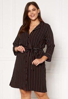 Happy Holly Thea shirt dress Black / Striped Bubbleroom.fi