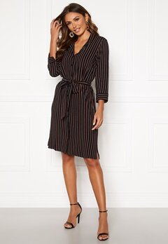 Happy Holly Thea shirt dress Black / Striped Bubbleroom.fi