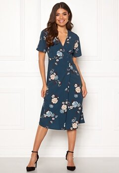 Happy Holly Tindra dress Petrol-blue / Patterned Bubbleroom.fi