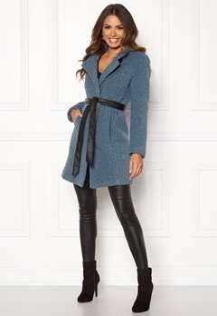 Happy Holly Tuva wool coat Dusty blue Bubbleroom.fi