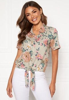 Happy Holly Vilma knot shirt Beige / Floral Bubbleroom.fi
