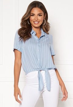 Happy Holly Vilma knot shirt Light blue / Striped Bubbleroom.fi