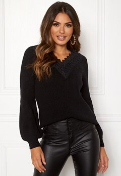 Happy Holly Wendy lace sweater Black Bubbleroom.fi
