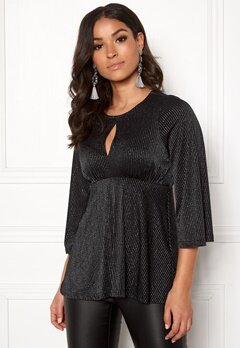 Happy Holly Zahra lurex top Black / Silver Bubbleroom.fi
