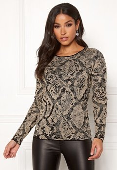 Happy Holly Sandra knitted lurex sweater Animal print Bubbleroom.fi
