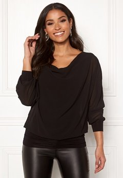 Happy Holly Lisa drapy blouse Black Bubbleroom.fi