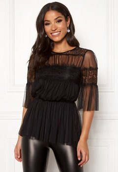 Happy Holly Smilla mesh top Black Bubbleroom.fi