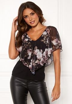 Happy Holly Fanny top Black / Patterned Bubbleroom.fi