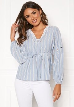 Happy Holly Sanna blouse Blue / Striped Bubbleroom.fi