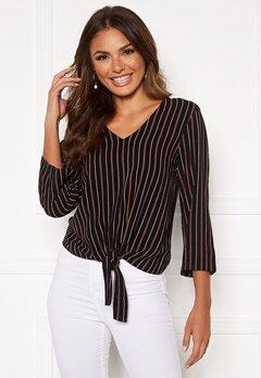 Happy Holly Thea knot blouse Black / Striped Bubbleroom.fi