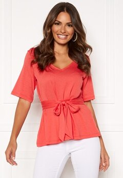 Happy Holly Moa knot top Coral red Bubbleroom.fi