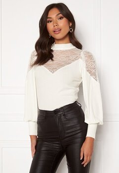 Happy Holly Nathalie lace puff top White Bubbleroom.fi