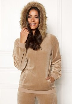 Happy Holly Kaylee short fur hoody Light mole Bubbleroom.fi