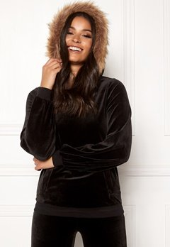 Happy Holly Kaylee short fur hoody Black Bubbleroom.fi