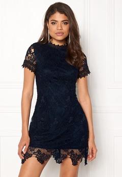 AX Paris High Neck Lace Dress Navy Bubbleroom.fi
