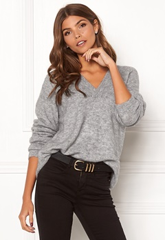 ICHI Amara V LS Sweater Grey Melange Bubbleroom.fi
