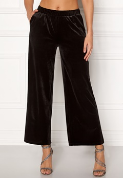 ICHI Velvet Pants Black Bubbleroom.fi