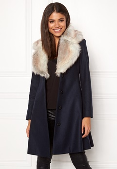 Ida Sjöstedt Tracey Coat Wool Navy/Light Fur Bubbleroom.fi