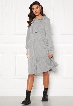 Jacqueline de Yong Dale L/S Hood Sweat Dress Light Grey Melange Bubbleroom.fi