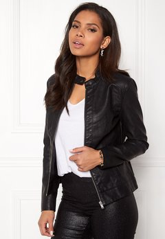 Jacqueline de Yong Dallas Faux Leather Jacket Black Bubbleroom.fi