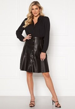 Jacqueline de Yong Hill Button PU Skirt Black Bubbleroom.fi