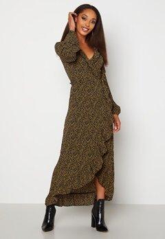 Jacqueline de Yong Jules L/S Wrap Ankle Dress Black AOP Dots Bubbleroom.fi